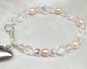 Girls Pink Pearl Bracelet Silver Heart Bracelet Girls Pink Bracelet Baby Bracelet Crystal Bracelet Sterling Silver BuyAny3+Get1Free