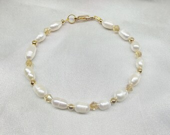 White Pearl Bracelet Gold Crystal Bracelet Solid 14kt Gold Bracelet or 14k Gold Filled Bracelet Adjustable Bracelet BuyAny3+Get1 Free