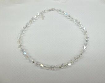 Clear AB Crystal Bracelet Sterling Silver Cross Bracelet 100% 925 Sterling Silver Bracelet BuyAny3+Get1Free