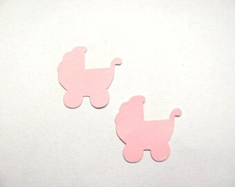 Confetti - 200 CARDBOARD prams - New Born Baby - Baby shower - Decor - Baby girl - Pink