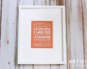 Pumpkin Pie Kitchen Art Print with Handlettering