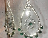 Silver St Patty (Patrick) Day Floating Shamrock w 16 Emerald Crystals Boxed