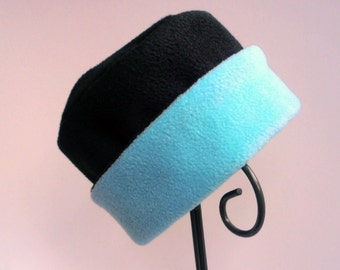 Black and Blue Fleece Hat, Roll Brim Hat, Soft and Warm Hat, Black and Blue Hat, Fleece Hat