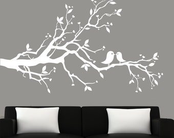Modern white tree branch decal with birds vinyl wall art decal wall stickers -