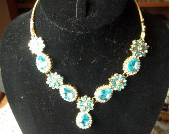 Ornate Lt. Blue and Clear Rhinestone Necklace