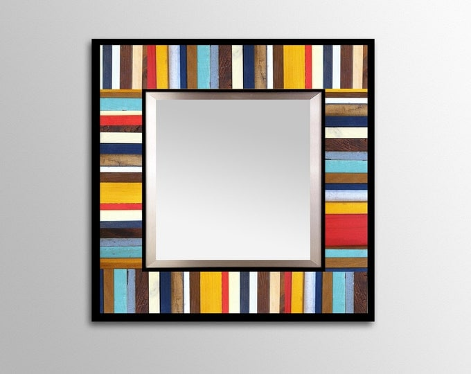 """Reclaimed Wood Mirror - """"Reclaimed Reflection""""- Wood Stripes - Square - Scrap wood art"""