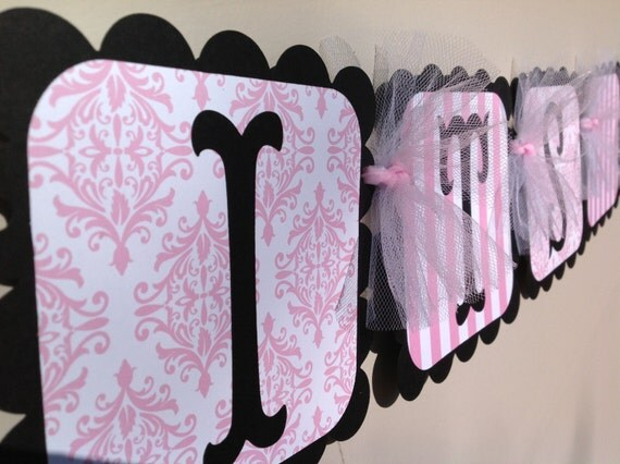 Simple Elegance Collection Black- Its A Girl Baby Shower Banner Pink White Stripes and Damask and Black