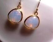 Opal Earrings - Gold Earrings - Aurora Borealis - Glass Earrings - Drop Earrings - With 14k Gold Earwires