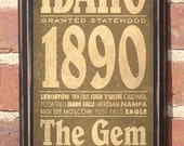 Antiqued Finish The State of Idaho Customizable Vintage Style Wall Plaque / Sign Decorative & Custom Color