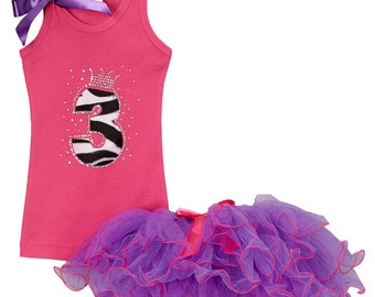 3rd Birthday, Black White Zebra 3, Hot Pink Purple Tutu Outfit, Animal Print three, 3yr old Birthday Tank Top, Rhinestone, Personalized Name