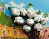 Vintage Rosebuds and Leaves with Swarovski Crystal Accent- SALE
