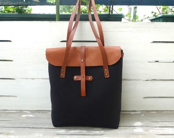 Black  Canvas Leather Closure Tote Bag  - Leather  Strap Shoulder bag / Tote Bag / Diaper Bag / Messenger Bag