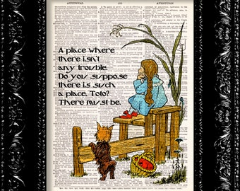 Wizard Of Oz Dorothy ToTo Print, Dictionary Art, Upcycled Book Art