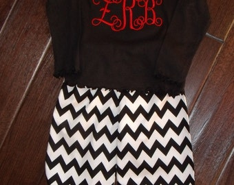 Boutique Monogrammed Initial Shirt and chevron Ruffle Pant Sizes 3M to 5T