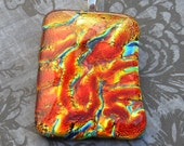 Lava flow dichroic pendant, red/gold glass
