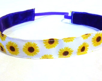 NOODLE HUGGER Non slip ribbon headband - sunflowers - 7/8 inch (running, working out, everyday: women and girls)