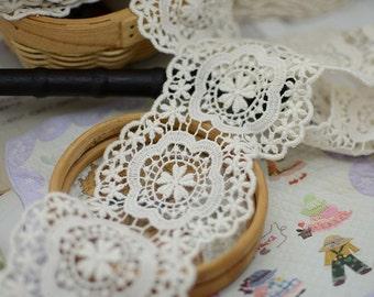 vintage lace fabric trim in cream, natural cotton lace trim, crochet lace trim, scallop lace