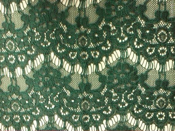 ... green eyelash lace fabric, green alencon lace fabric, fabric by yard