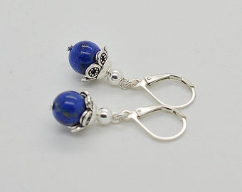 Genuine Lapis With Lever Back Sterling Silver Earrings 45