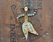 primitive JESTER clown joker art doll / ornament   original by Elizabeth Rosen