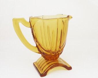 Vintage Amber Glass Creamer, Pitcher, Jug, Art Deco Jug, Creamer by Bagley, UK Seller