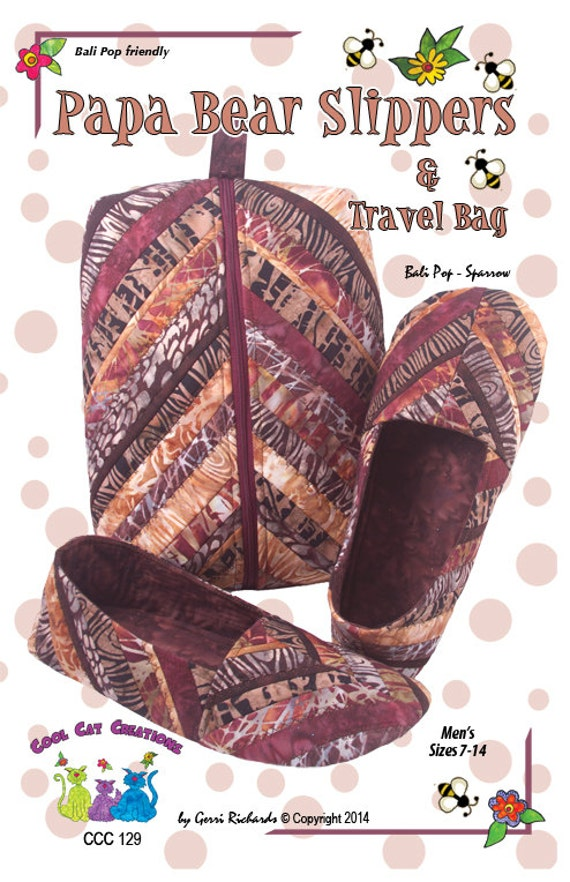Papa Bear Slippers & Travel Case Pattern Quilted Slippers and : quilted slippers pattern - Adamdwight.com