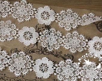 off white lace trim, venise lace trim, retro floral lace trim, vintage lace trim