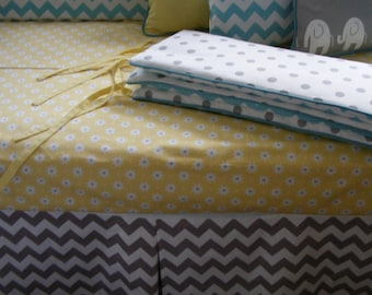 Baby Bedding  / White and Grey Blue Modern Crib Bedding