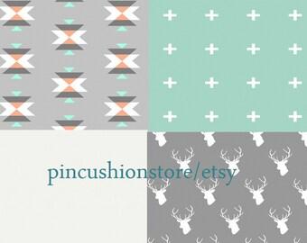 Baby Bedding Crib Bedding Cot Set 2/3 Piece Premium Modern Prints Tribal grey coral mint w/ other options
