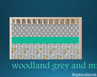Custom  Baby Bedding Crib Bedding Set Premium Mint and Grey Woodland Boys