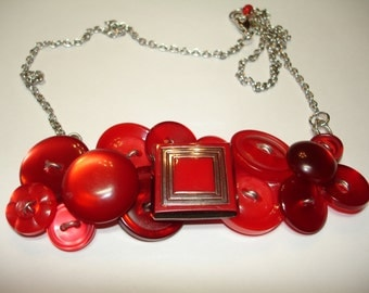TOTALLY RED - Vintage Glass focal Button- Button Jewelry - Button Necklace - Vintage buttons - Red Moon Glow Buttons -
