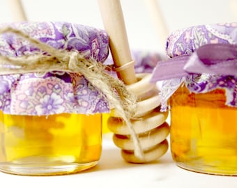 Mini Mason Jar Honey Wedding Favor with Wooden Honey Dipper for a Meant To Bee Theme Wedding or Mommy to Bee Theme Shower