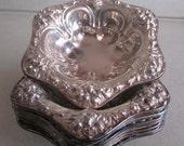 Antique Sterling Silver Meriden Britannia Repousse Bon Bon / Nut Bowls Set of 8