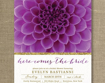 Purple & Gold Bridal Shower Invitation Flower Lace Gold Glitter Shabby Chic Bloom FREE PRIORITY SHIPPING or DiY Printable - Evelyn