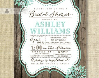 Aqua Teal Bloom Bridal Shower Invitation Rustic Wood Shabby Chic Distressed Mint Wedding FREE PRIORITY SHIPPING or DiY Printable - Ashley