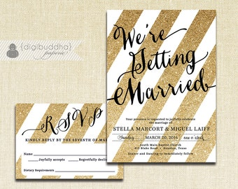 Gold and Black Wedding Invitation & RSVP 2 Piece Suite Gold Glitter Stripes Modern Black Script Shabby Chic DiY or Printed- Stella