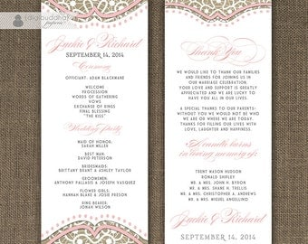"""Blush Pink Lace Burlap Wedding Program Double Sided 4x10"""" Shabby Chic Linen White 2 Sided Front and Back DIY Printable - Jackie"""