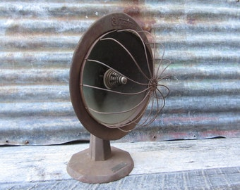 Antiqe Heat Lamp Light Early 1900s Art Deco Heater Very Industrial Estate Stove Co. Parts or Turn into Lamp Lighting Upcycle Victorian Decor