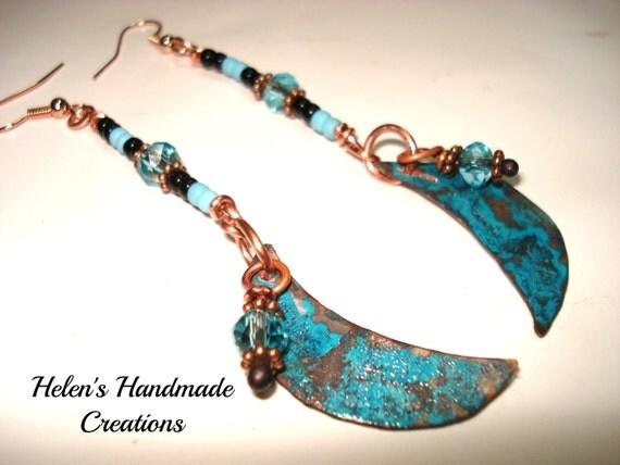 Crescent moon blue patina copper earrings