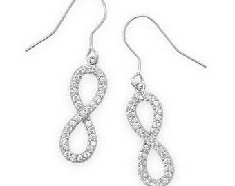 Rhodium Plated CZ Infinity Drop Earrings - 925 Sterling Silver