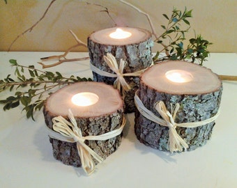 TREASURY ITEM - 3 Large Wood tree branch candles - Wood tree candles - Rustic wedding candles - Home and living -Holiday - Christmas candles