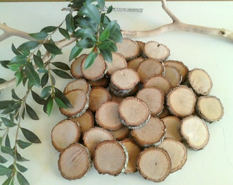 75 Small Rustic tree slices - Wood tree slices - Gift tags - Wood discs - Buttons - diy projects - Craft supplies - vase filler