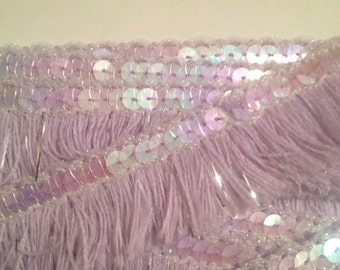 Lilac Silver Cotton Fringing with Sequin Detail - 30mm wide x one yard
