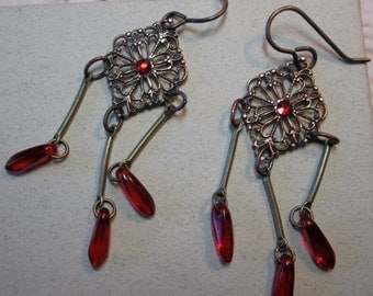 Ruby Red Glass Dangle Earrings