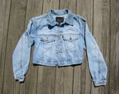 SALE- BeBop Clothing vintage cropped light wash denim jacket size small