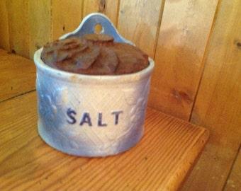 Lovely Blue Glazed Stoneware Salt Crock with Carved Wooden Lid