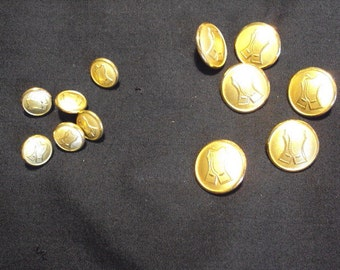 Gold Metal buttons made in Sweden, retro buttons
