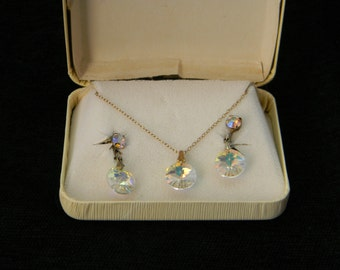 Vintage Aurora Borealis necklace and clip earrings demi parure