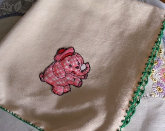 Three Vintage Pink Elephants Towel or Cloth ~ Baby Room Decor