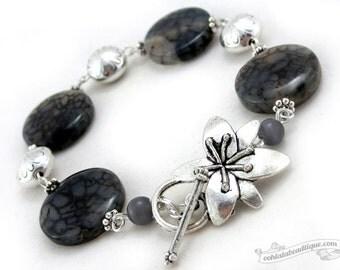 Black Agate Bracelet, black bracelet, birthstone bracelet, gemstone bracelet, black jewelry, flower bracelet, coin bracelet, gift for her